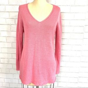Eileen Fisher pink linen knit sweater size S 🦊